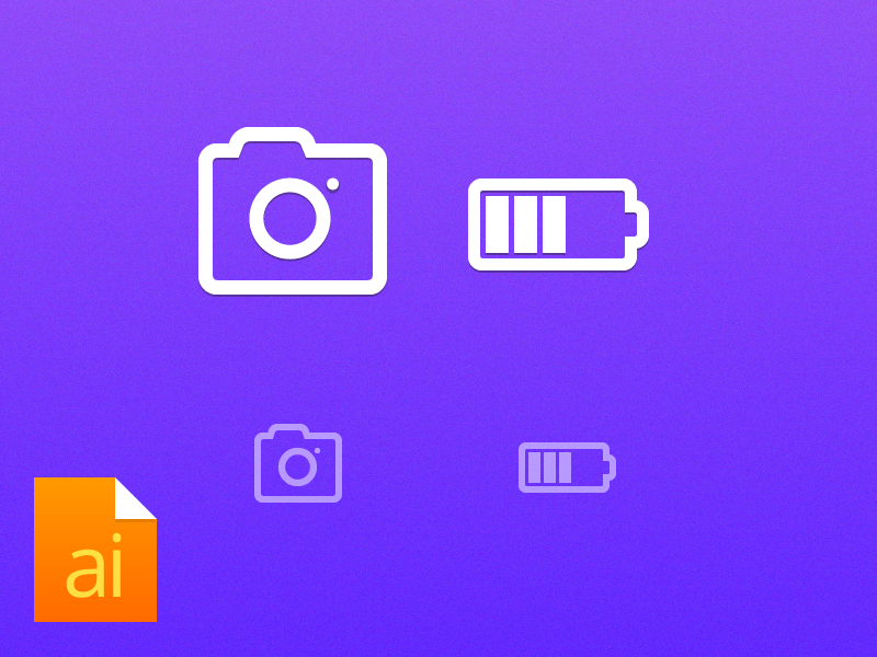 Camera and Battery Icon icon camera design battery line flat free freebie