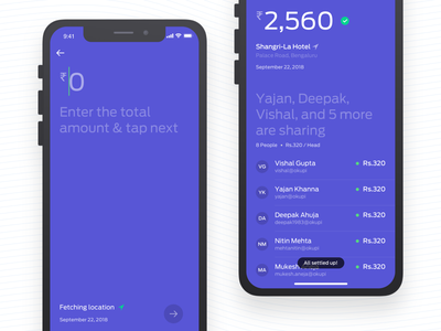 Split Money via UPI money transfer split money clean interaction ux application iphone mobile sketch interface app ui design