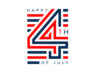 Happy 4th of July america typography graphic design logo independence day flags blue and white blue red 4th flag 4th of july