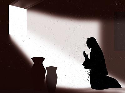 Angel visits Mary christmas mary jesus design illustration