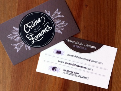 Creme De Les Femmes Business Card business card burlesque custom typography type logo design feminine edgy