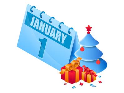 Isometric new year calendar