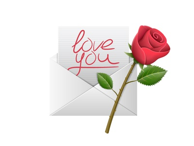 "Envelope with text ""love you"" and red rose on Valentine's day"