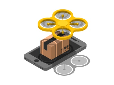 Concept online delivery percel with use drone in isometric