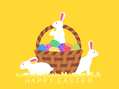 Happy easter greeting card design