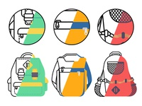Concept vector backpack outline and flat