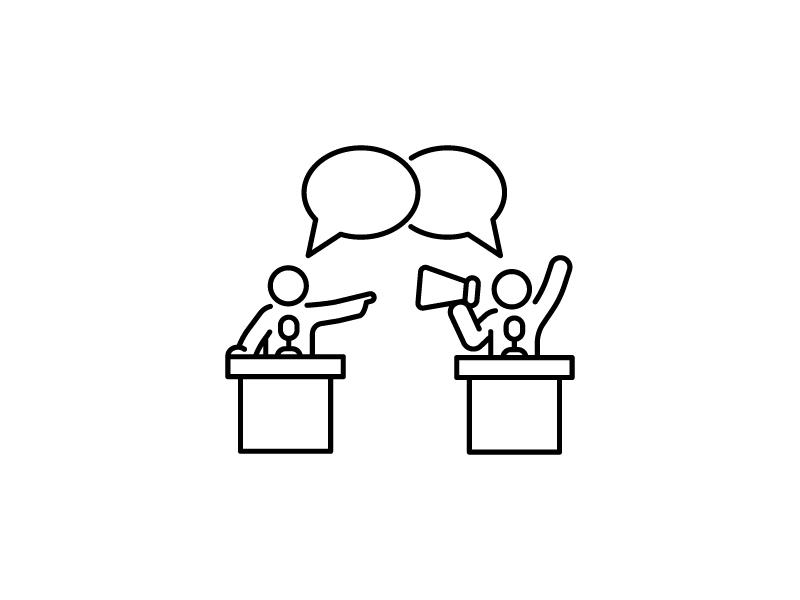 Concept debate logo line vector versus dialog argue dispute man outline icon debate