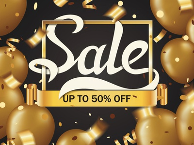 Sale lettering banner with golden balloons and confetti