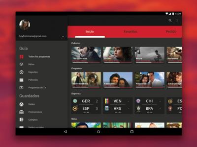 Televisión - online streaming ui design