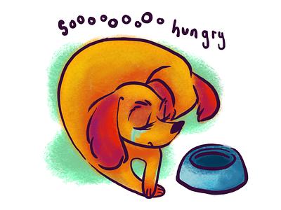 A Hungry Doggo emotion photoshop illustration hungry dog