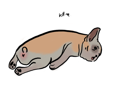 Pacifist Pup sad sleepy emotion dog digital photoshop illustration