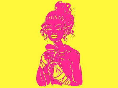 Shadow Boxer Baby inktober ink photoshop illustration girl boxing
