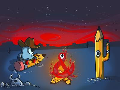 Gather round ya'll sun set camp fire western illustration photoshop ampersands pencils cowboys