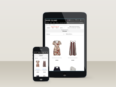 River Island website fashion website resonsive ecommerce ux