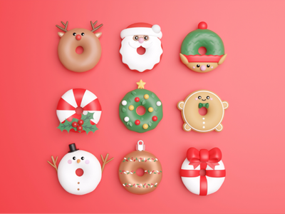 All I want for Christmas is donut ui ux christmaself snowman christmastree gift gingerbread ornament sugarcane holly santa food caracters blender 3d illustration mobile app christmas donuts