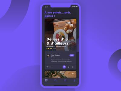 À vos palais, prêt, partez ! black purple app design design interface like darkmode cook mobile ui ux interfacedesign food dark app