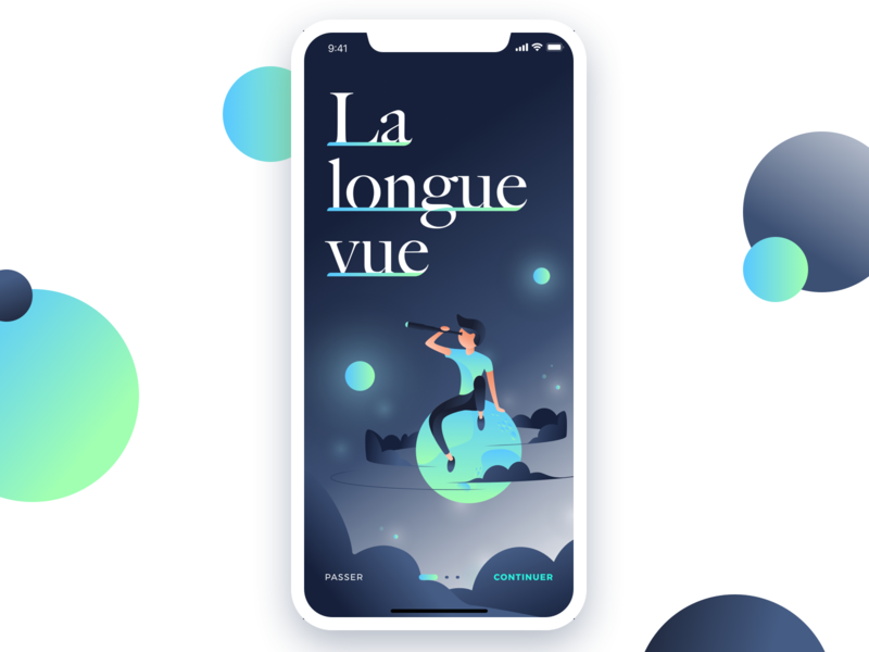 La Longue Vue alexandre lartique ios inspiration blue sky typography telescope mobile design color star planet moon light night app illustration ux ui