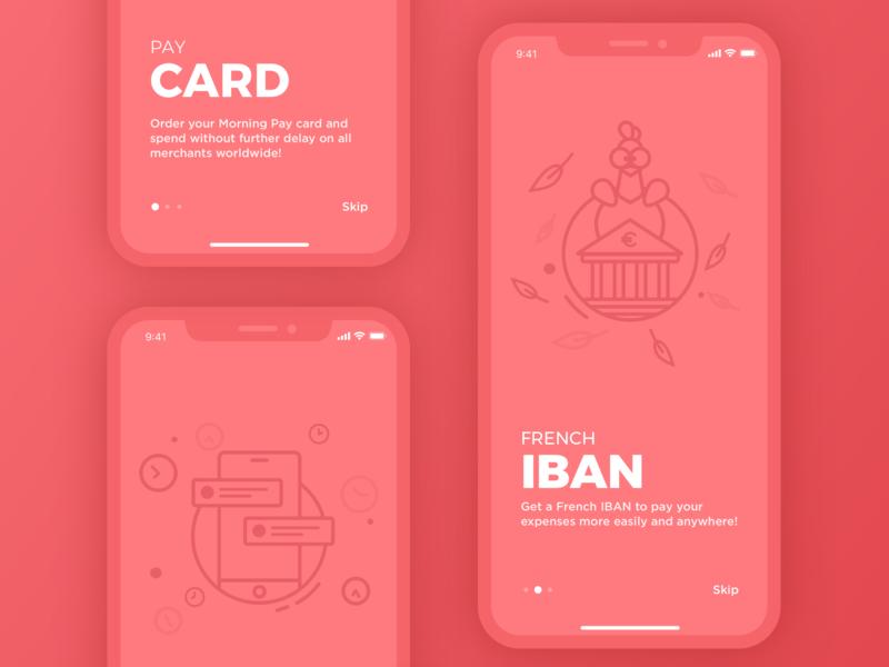 Illustrations for Morning App color ux ui red mobile app market ios iphone x illustration design chicken bank card bank app alexandre lartique