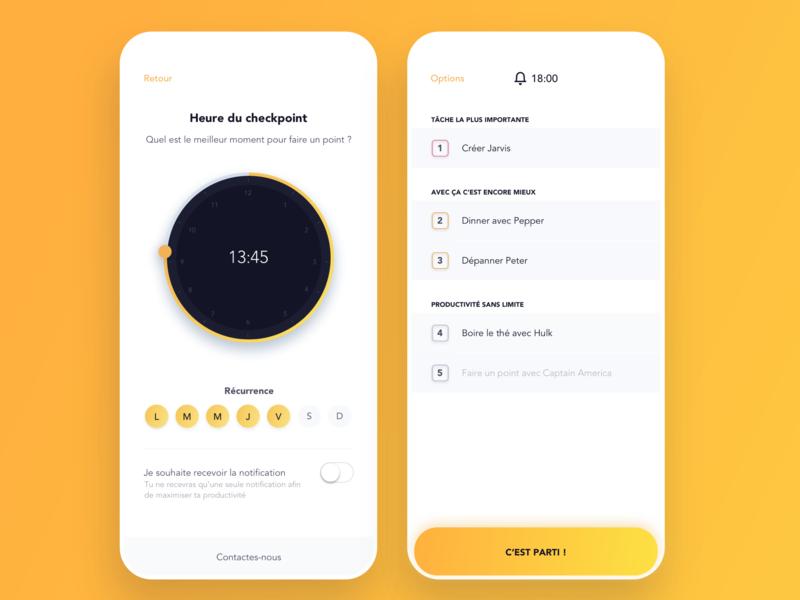Productivity checkpoint task alarm productivity mobile ios color ux ui alexandre lartique design app