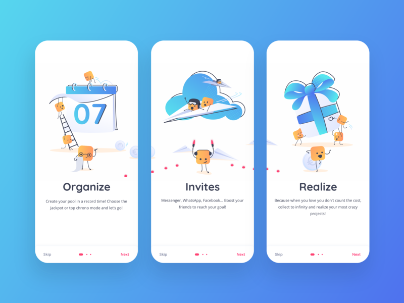 Wipliz realize invite organise event illustration color mobile ios ux market mascot blue uidesign design money pool money app app alexandre lartique