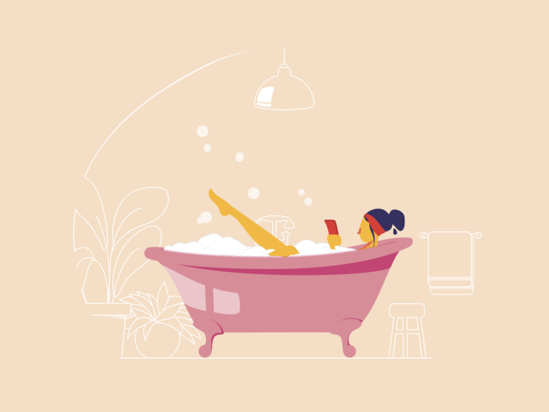 Plouf ! shot drawing draw pink relaxation chill lady foam legs girl woman bubble phone mobile bathroom bath alexandre lartique vector illustration