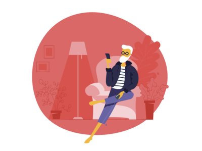 Red sofa red color app man old economy illustration illustrator vector home mobile digital design bank armchair alexandre lartique