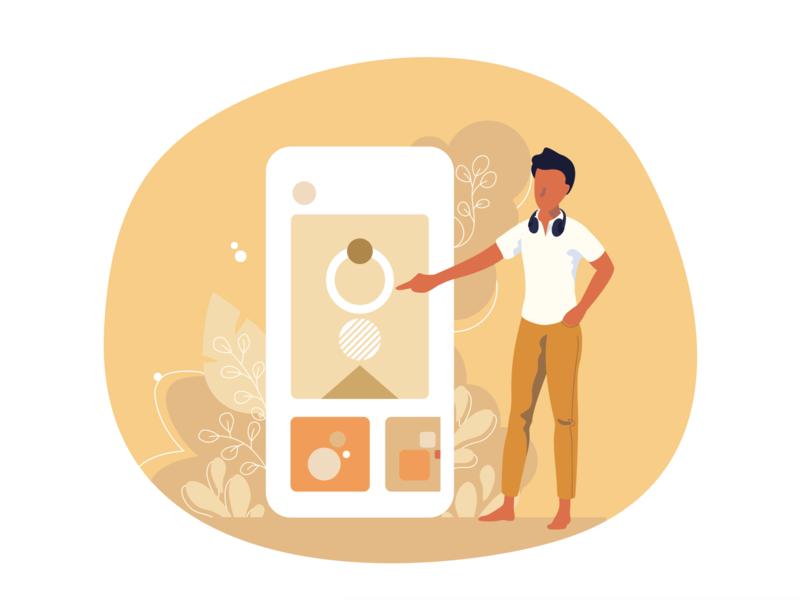 App conception interactive interface sketch illustrator man uxdesign research conception job startup build designer ux ui color vector mobile design app illustration