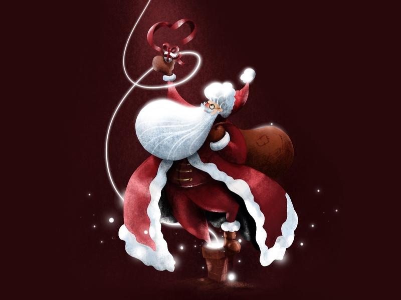 Santa claus tablet procreate noel chimney magic snow gift sketch december santaclaus christmas drawing draw light color vector illustration