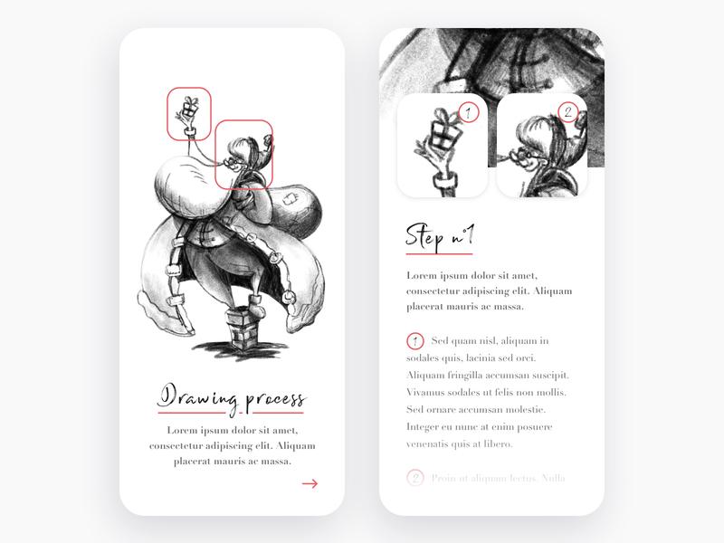 Drawing process tutorial method create character interface step brush minimalism blackandwhite christmas process drawing sketch ux ui mobile design app illustration