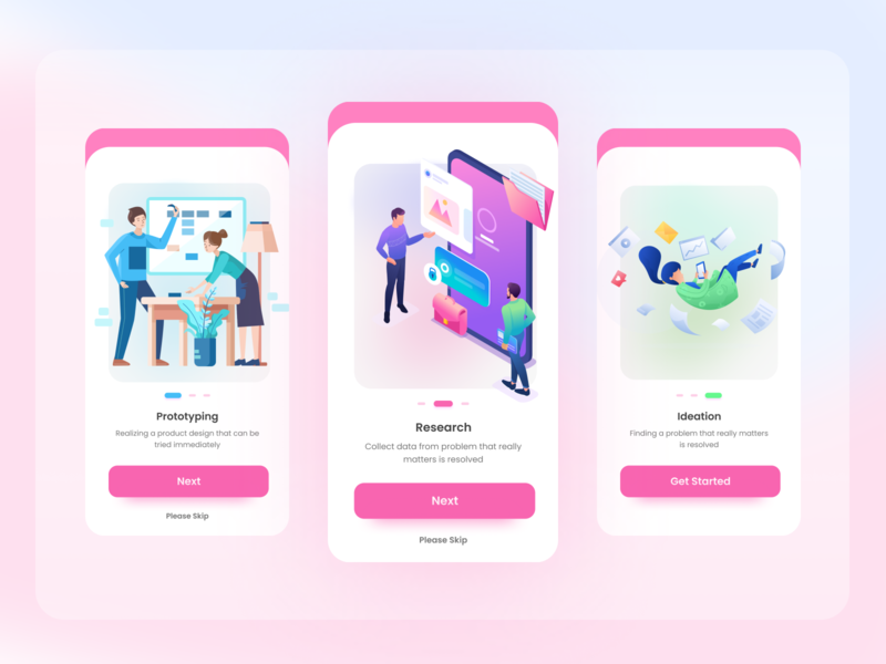 Onboarding Mobile Screens color onboarding ui splash mobile illustration app ios design clean ux ui