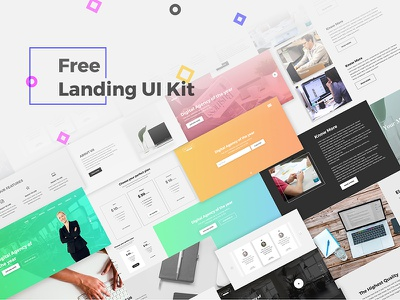Free Landing UI Kit design clean onepage website landing free ux ui psd kit ios freebie