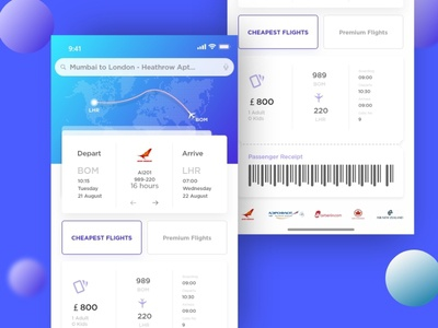 Airplane Ticket IOS App  Freebies