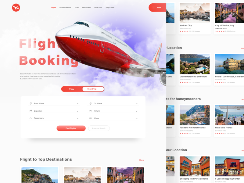 Travel Booking Langing Page userexperiencedesign userinterfaces italy ticket booking plane ticket plane web landing website design clean ux
