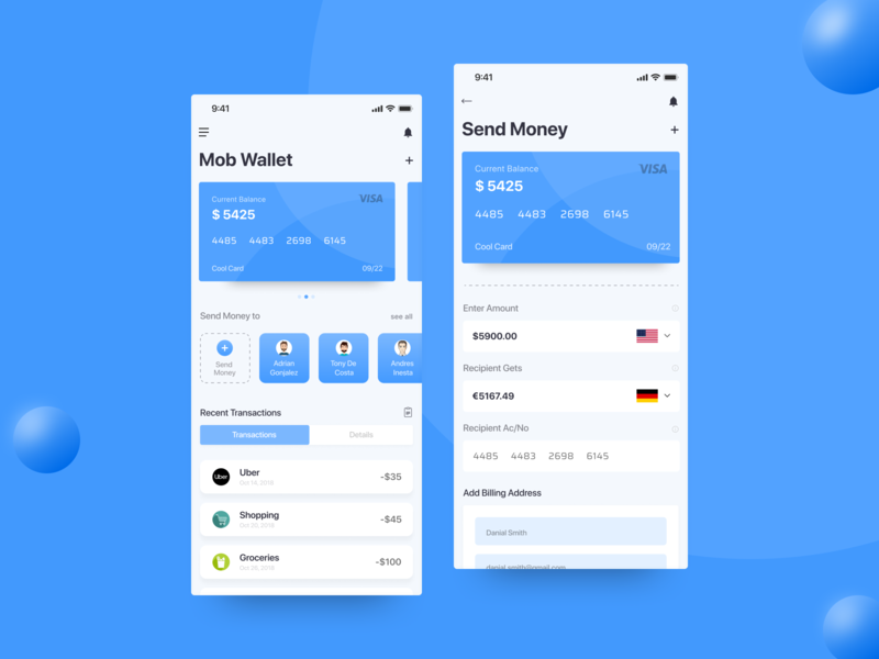 Mobi Wallet App for iOS visa card ux ui typography send money iphonex ios design clean bank card bank account bank app trends app layout app