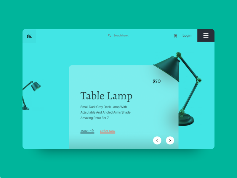 Online Lamp Store shopping table lamp landingpage ecommence online creative  design typography website design clean ux ui