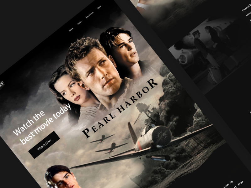 Movie landing page clean branding parallax website movie banner movie pearl harbor landingpage logo landing website ux ui