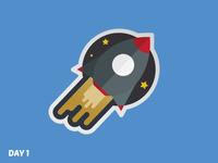 Daily Logo Challenge: Day 1 | Rocketship 🚀