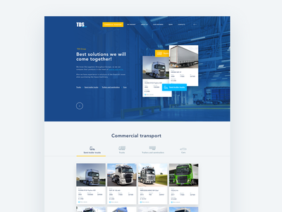 Autotransport web design web ui typography blue car trucks transport menu grid flat design clean