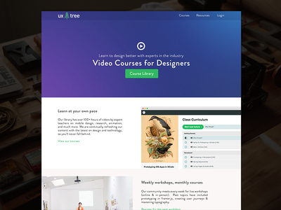 UXTree Redesign / Vision blue gradient purple landing page tutorials courses tree ux redesign web