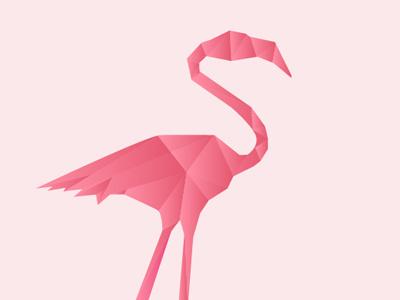Origami Flamingo cubist abstract flamingo pink vector