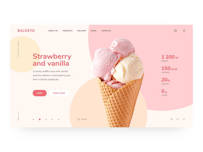Balosto design ui ux web minimalism website homepage slider webdesign uiux logo site clean ice cream simple trends
