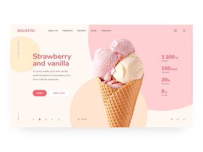 Balosto design ui ux web minimalism website homepage slider webdesign uiux logo site clean ice cream simple trends