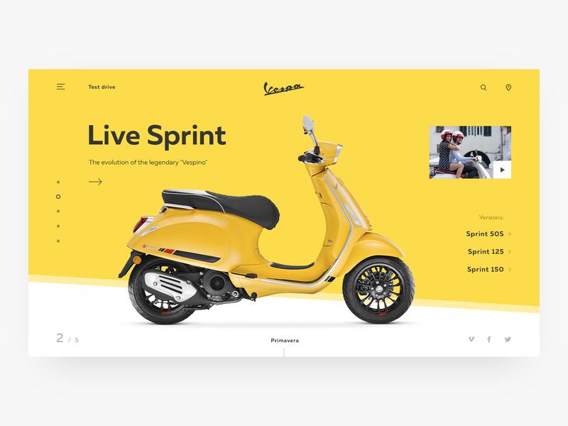 Vespa design ui ux web minimalism website slider homepage webdesign uiux site clean simple vespa moto scooter promo