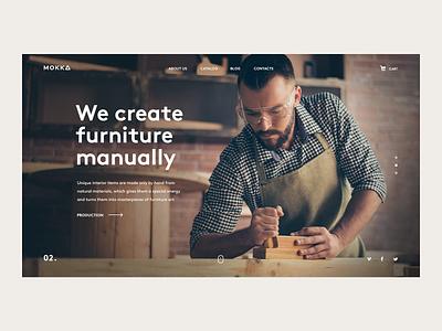 Mokka design ui ux web minimalism website homepage slider webdesign uiux site logo clean simple wood furniture handmade diy promo