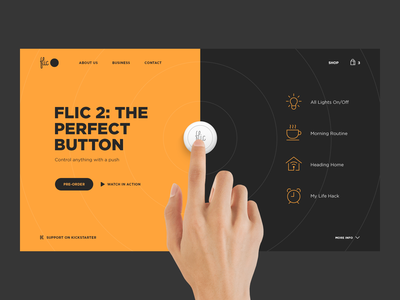 Flic 2 shop kickstarter startup device simple promo clean site uiux webdesign homepage website minimalism web ux ui design
