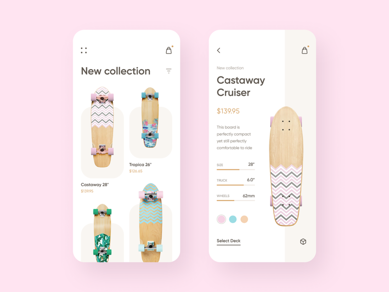 Cruiserboard Store App design ui ux minimalism clean simple app apple product mobile inspiration skateboard cruiser ios ecommerce figma