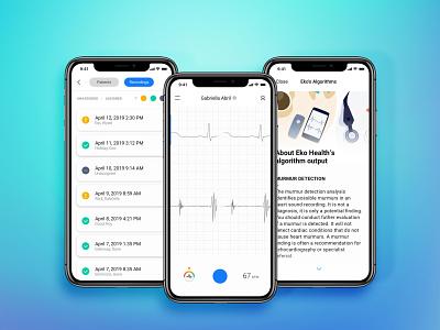 Eko Heart Health App design product ux internetofthings iot light visualization data analysis wellness medical health clean mobile ios app minimal ui simple
