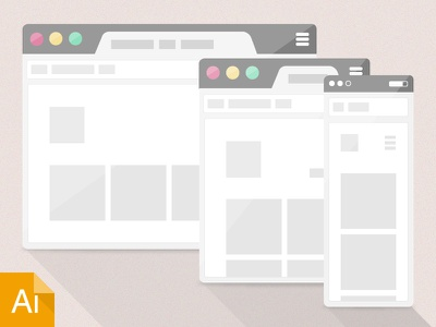Responsive Site Icons responsive icons illustrator freebie download flat wireframe browser