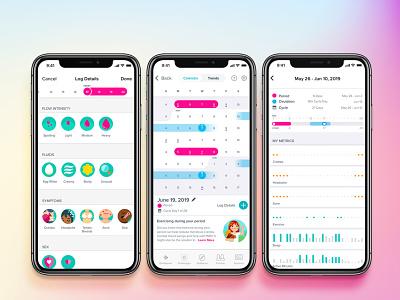 Fitbit Female Health illustration ux health flat mobile ios app minimal ui simple