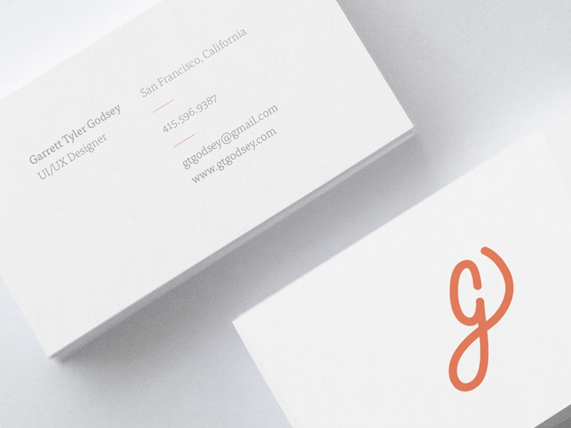 New Cards business cards lettering white clean minimal red orange g